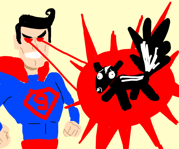 superman shooting a skunk with his laser eyes