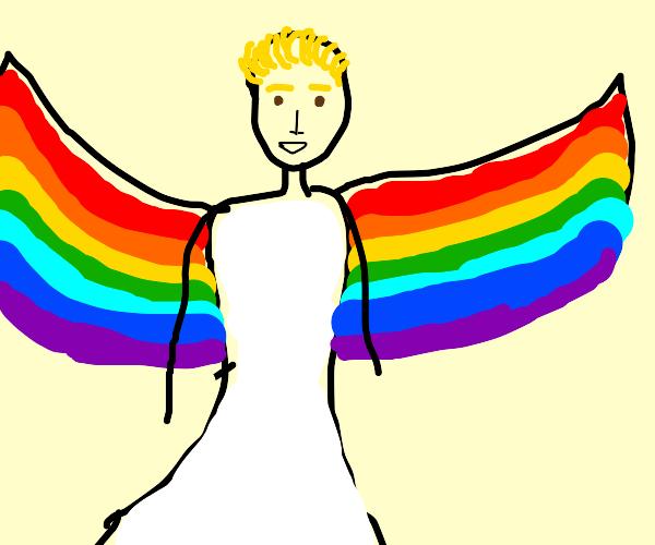 Angel Jake Paul with rainbow wings