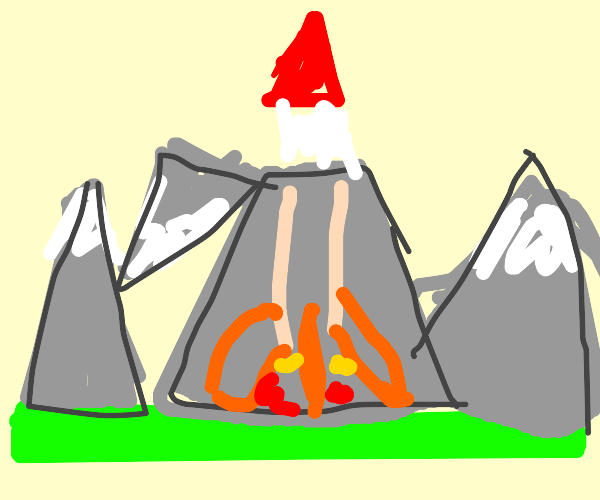 Rocket blasting off from inside of mountain