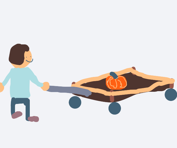 Pulling your pumpkin in a wagon