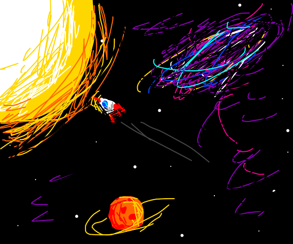 Rocket flying into the sun