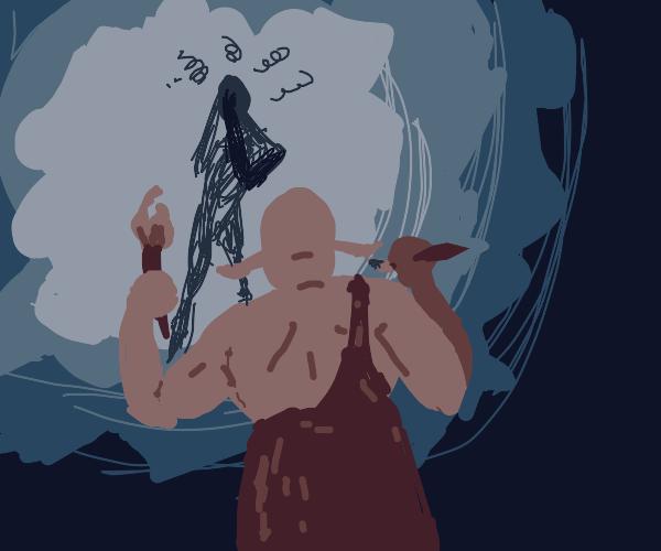 Ogre paints cave drawings