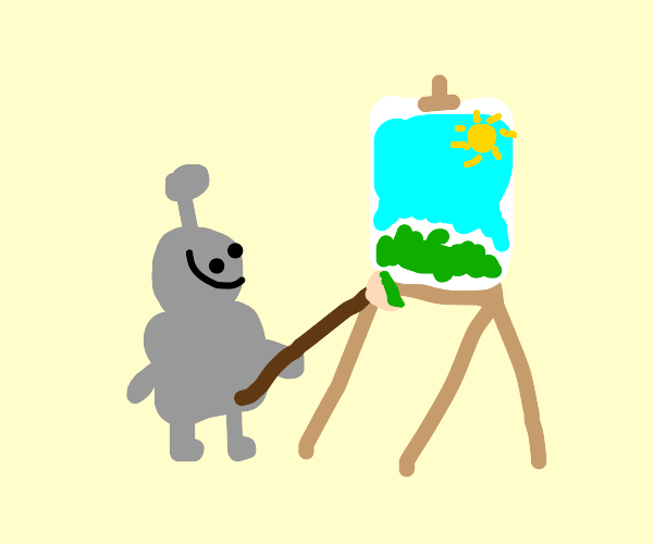 Robot painting a grass and sky with big sun