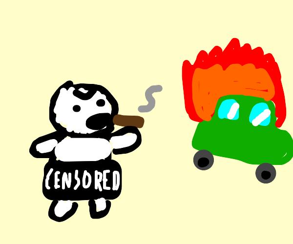 Crazy Naked Dude Smokes And Blows Up Car