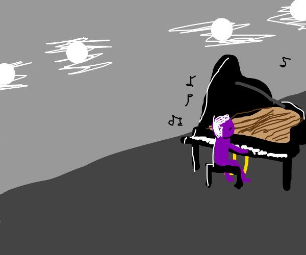 purple guy learns piano