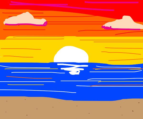 a sunset on a beach