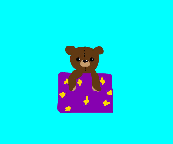 Teddy bear in a box