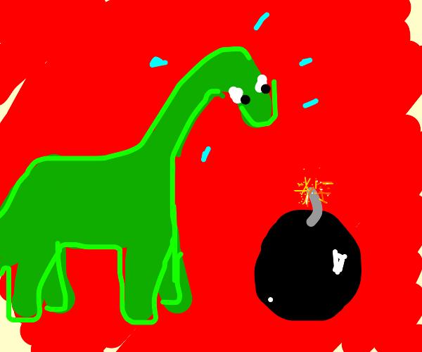 dino watches bomb