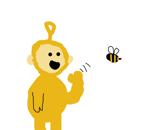 Yellow telettuby waves hi to a bee