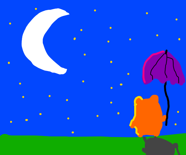 hamster with an umbrella looking at the moon