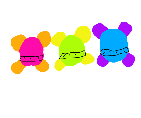 Fairy ballerinas, pink, blue, and green