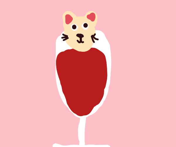 Cat in wine glass