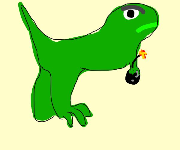T-rex holding a bomb