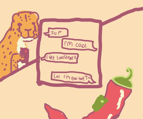 Cheetah texting Pepper