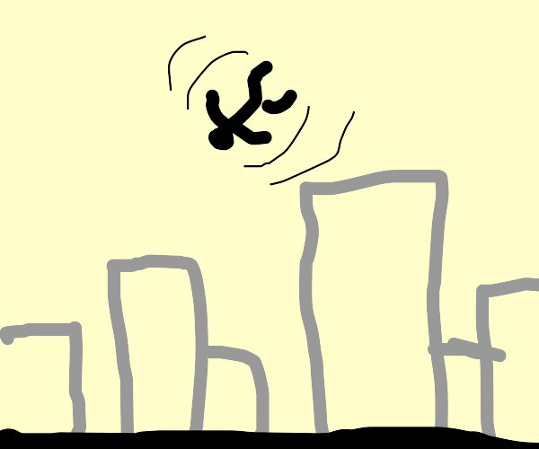 Man defying gravity above city