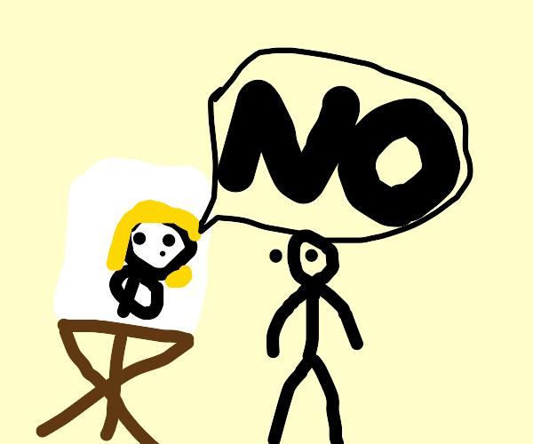 Art template woman says no