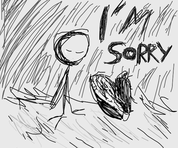 stickman apologize with corn