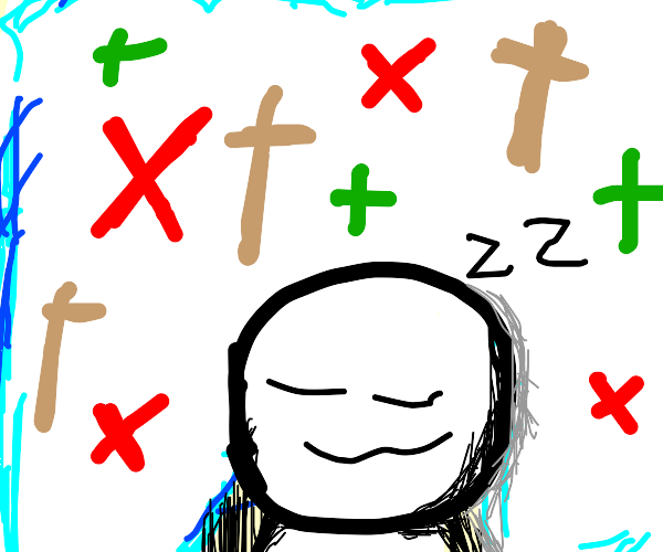 person dreaming about crosses