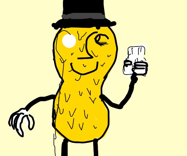 Mr. Peanut holds a pill bottle