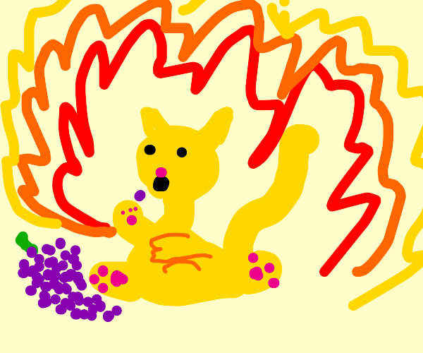 cat from hell eats grapes while burning