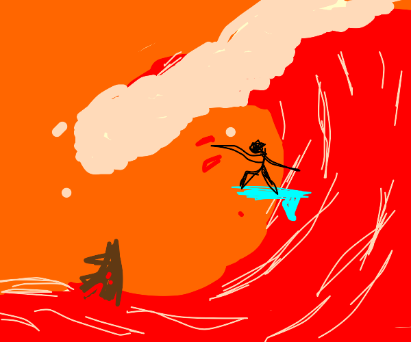 surfer riding blood waves
