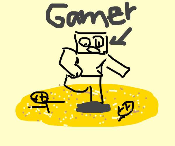 Gamer jumping over Quicksand