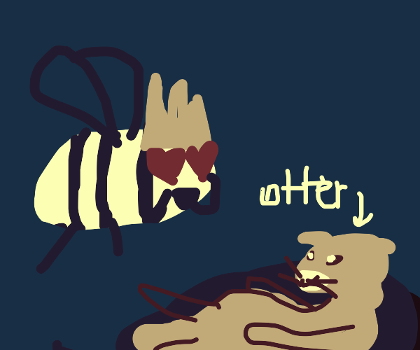 Giant queen wasp is in love with an otter