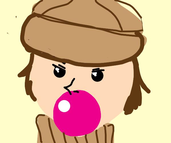 detective blows bubblegum
