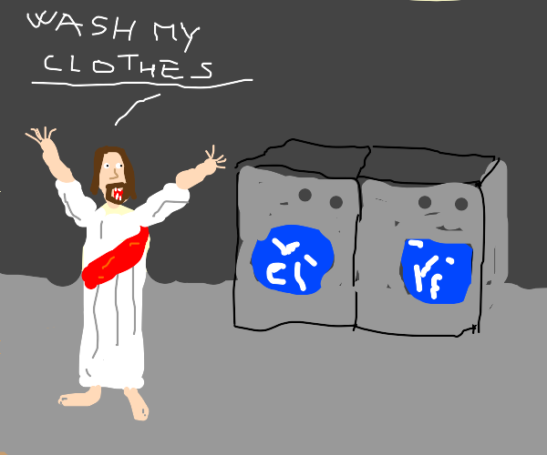 Jesus doing Laundry