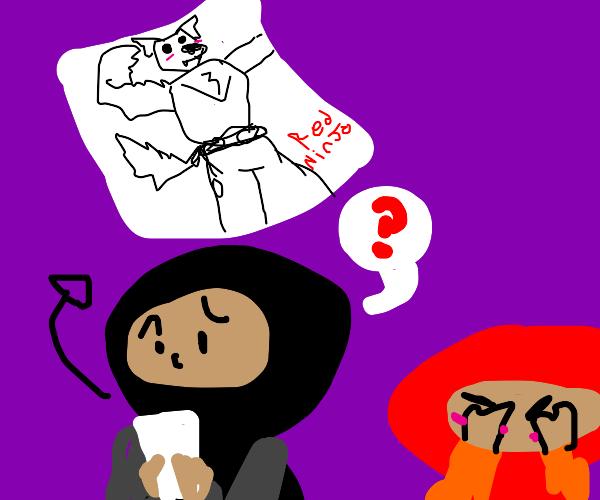 Ninja is curious of weird drawing