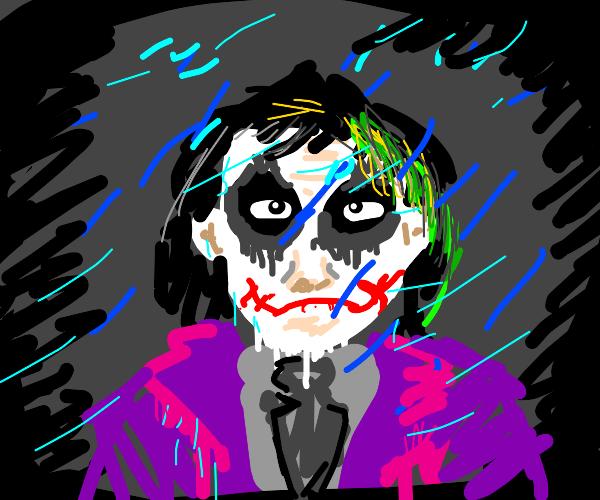 Joker is melting in the rain.