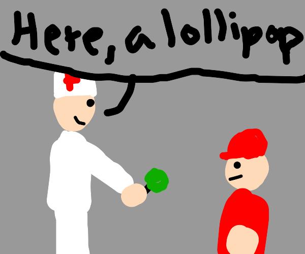 Nurse offers patient a lollipop