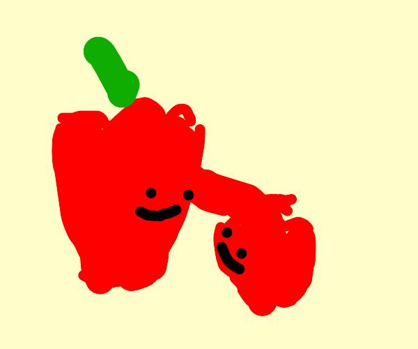 dad bell pepper pats son bell pepper on head