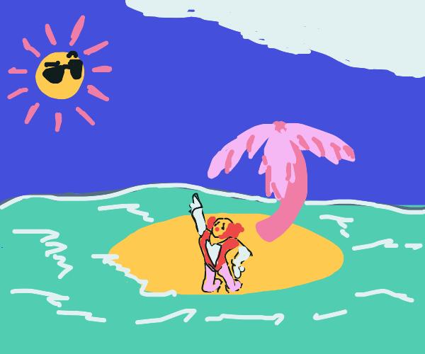 Topless dancing at the desert island