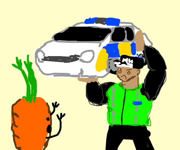 Policeman tosses squad car @ escaping carrot