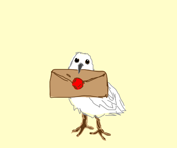 A dove delivering a letter