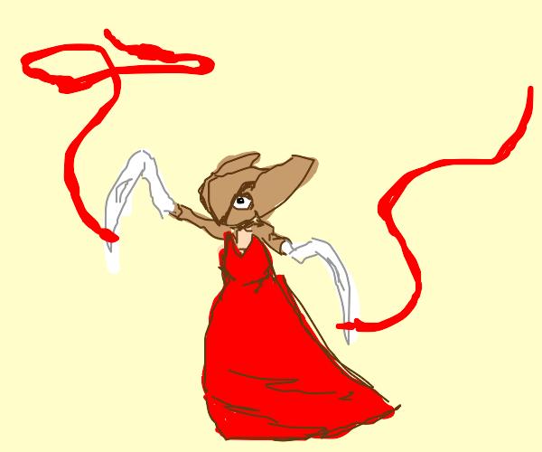 Kabutops skeleton's Ribbon dance in red dress