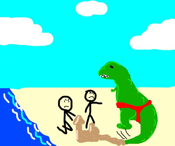 T-Rex tail probs make him an outcast @ beach