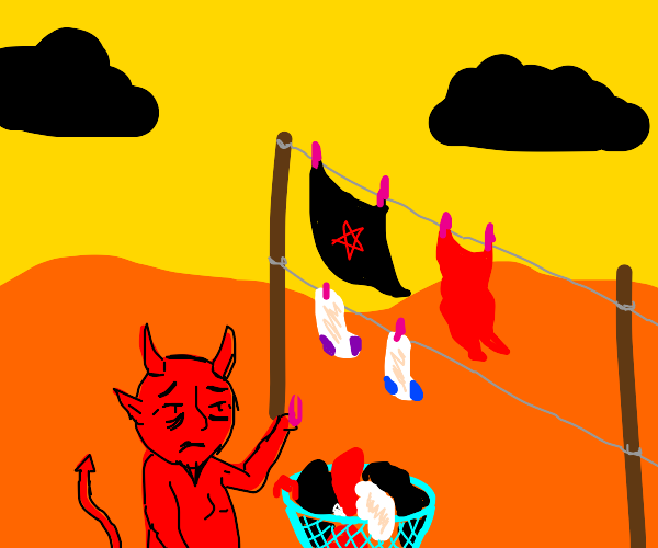 Exemplary drawing tired demon hanging laundry