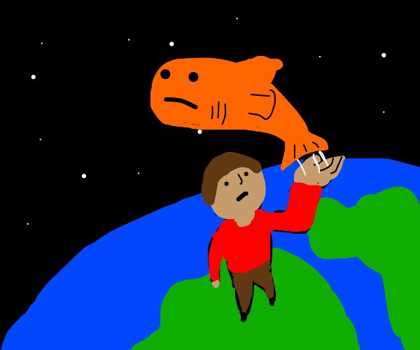 giant man throws fish into orbit