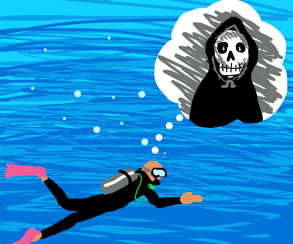 Thinking of death while scuba diving