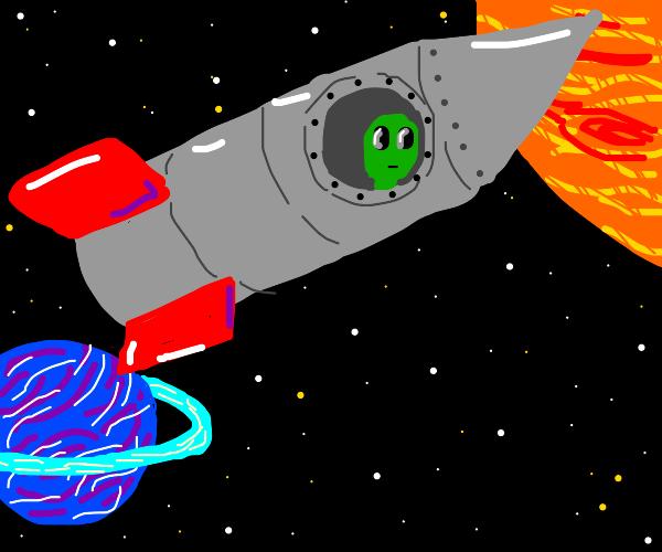 alien looks out of a rocket
