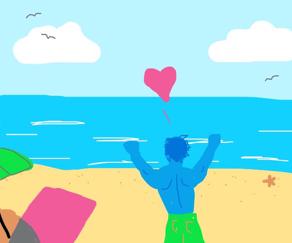 Blue man loves the beach
