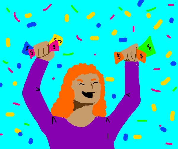 Person with confetti and rainbow money
