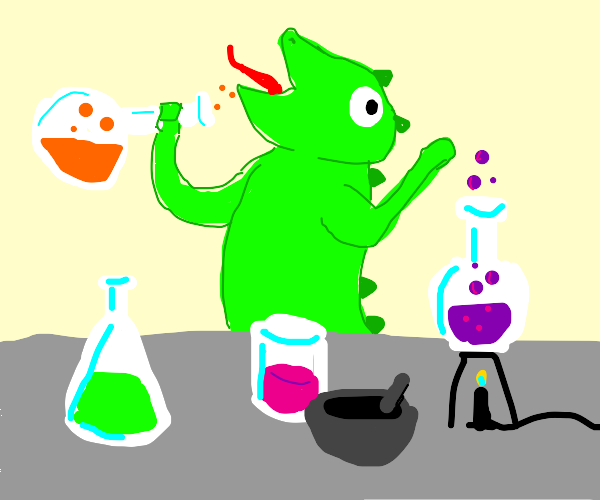 Lizard getting high on SCIENCE!