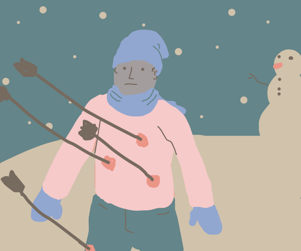 man... being shot by arrows in th calm winter