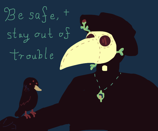 Plague Doctor giving farewell to a 3eyed Crow