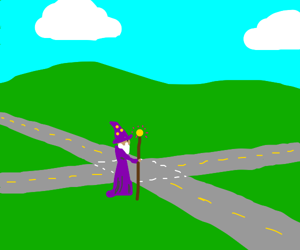 Wizard crosses road on 4 way w/ no stop signs