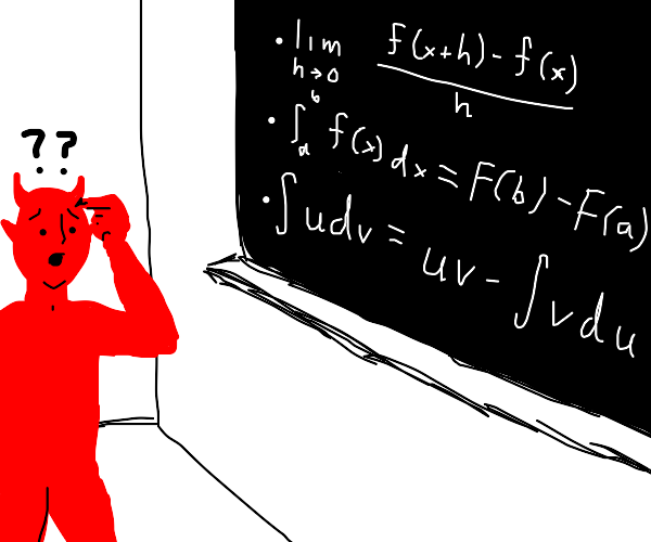 Demon is visibly confused at calculus class