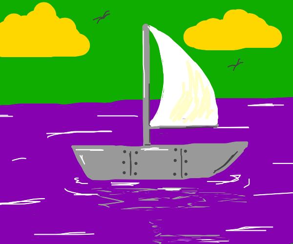 Steel sailboat in an alien planet's sea